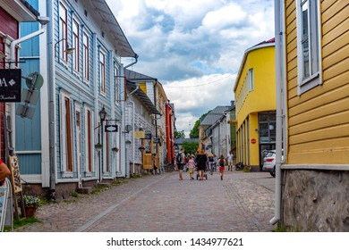 Porvoo, Finland- June 23,2019: Old town of Provoo .cobbled streets of the medieval old town Porvoo. Finland