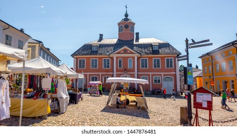 Porvoo, Finland- June 23,2019:Old town of Provoo . Colorful houses in old town Porvoo. Finland