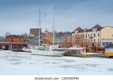 PORVOO, FINLAND - MARCH, 8, 2019: A view of buildings in the Porvoo Old Town, Finland