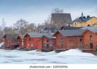 PORVOO, FINLAND - MARCH, 8, 2019: A view of old wooden barns in the Porvoo Old Town, Finland