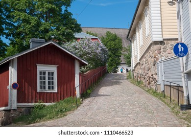 PORVOO, FINLAND, MAY 27, 2018. A street view of the historical centre of Porvoo, Finland on May 27th 2018.