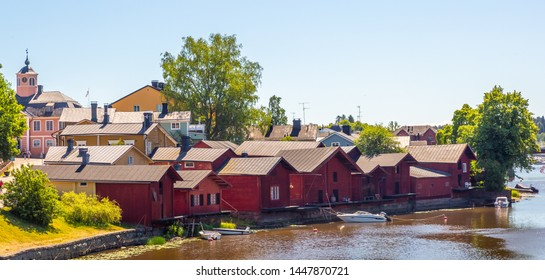 Porvoo, Finland. Old wooden red houses in old town of Porvoo.