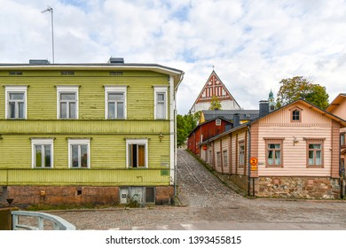 Porvoo, Finland - September 10 2018: The 15th century Porvoo Cathedral rises above the medieval town of Porvoo, Finland.