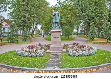 PORVOO, FINLAND - SEPTEMBER 22, 2018: Photo of Monument to J. L. Runeberg.