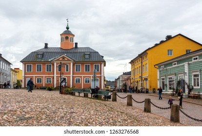 Porvoo, Finland - September 25 2016: View of Porvoo old town with historic wooden houses
