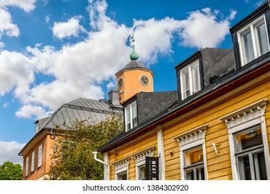 Porvoo, Finland - September 9 2018: The clock tower of the medieval Holmin Talo, the museum located on the main square of Porvoo, Finland