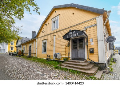 Porvoo, Finland - September 9 2018: The simple facade and exterior of an upscale eatery in the historic center of the medieval village of Porvoo Finland.