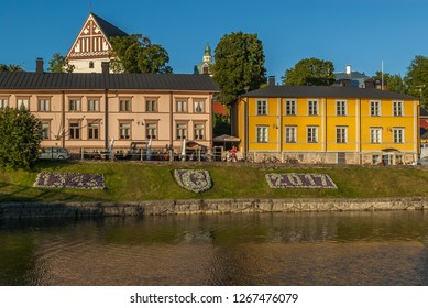 Porvoo/Finland-August 4, 2017 The Porvoo Old Town is a popular tourist destination, known for its well-preserved 18th and 19th century buildings and 15th century cathedral, the Porvoo Cathedral.