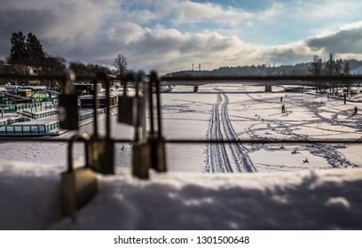Porvoo/Finland-January 31,2019.Lockers for lovers in Porvoo Bridge
