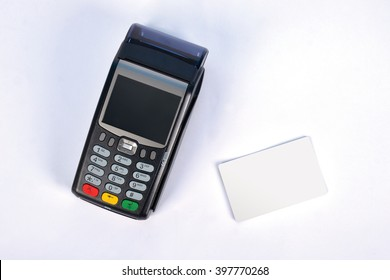 POS Payment GPRS Terminal with Credit Card, isolated on white