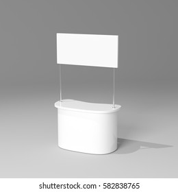 POS POI Empty Advertising retail stand bar display with banner. Mock Up Template. 3D rendering