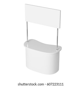 POS POI Empty Advertising retail stand bar display with banner isolated on white background. Mock Up Template. 3D rendering