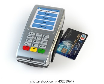 POS terminal with credit card isolated on white. 3d illustration Elements of this image furnished by NASA
