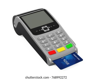 POS Terminal Credit Card Machine Isolated. 3D rendering