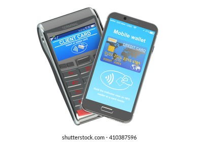 POS terminal with smartphone, NFC concept. 3D rendering