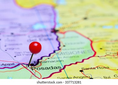 Posadas pinned on a map of Argentina