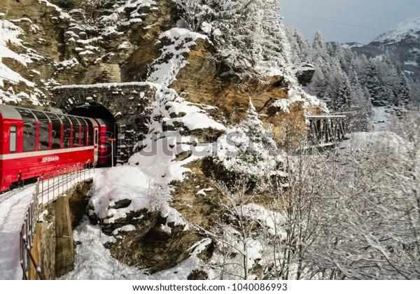 poschiavo-switzerland-january-2018-train