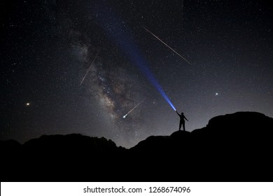 Posed Explorer With the Persaids Meteors 2018