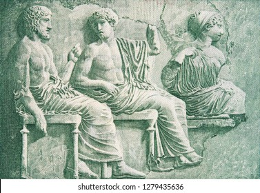 Poseidon, Apollo and Artemis in the meeting of gods on old Greece 50 drachma (1939), vintage retro engraving. Marble bas-relief from the east frieze of Parthenon, Athens