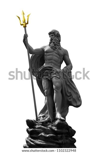 Poseidon Neptune Statue Sitting On Rock Stock Photo Edit