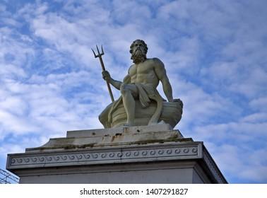 Poseidon statue with blue sky in Copenhagen