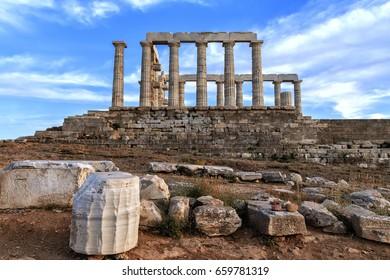 Poseidon Temple ruins ,Cape Sounion near Athens, Greece