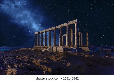 Poseidon Temple in Sounio , Greece