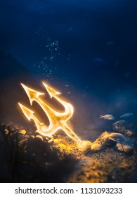 Poseidon trident glowing in the bottom of the sea / high contrast image