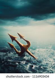 poseidon's trident in the sea