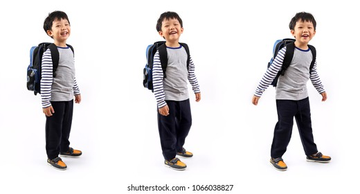 Poses of a cheerful Asian primary school boy with backpack isolated on white background.