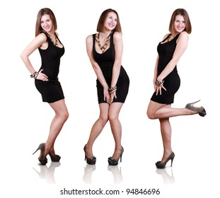 Posing beautiful girl in little black dress and fashion shoes. Expressive looks.