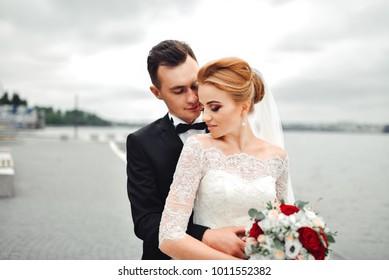Posing Camera Young Wedding Couple Romantic Stock Photo Edit Now