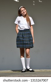 Posing Cute Colombian Person Wearing Skirt Standing