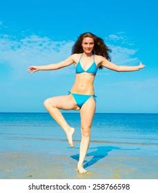 Posing  Fun Girl on a Beach