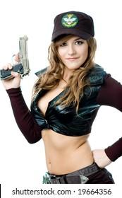 Posing with a gun