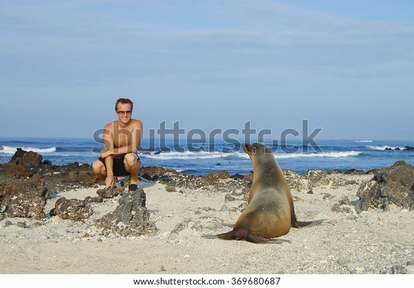 Posing with a Sea Lion - Galapagos