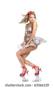 Posing young girl in dress - pinup stylization