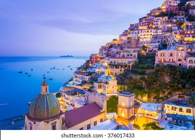 Positano, Amalfi Coast, Campania, Sorrento, Italy. View of the town and the seaside in a summer sunset - Shutterstock ID 376017433