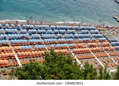 Positano beach in Amalfi Coast, Naples City, Italy