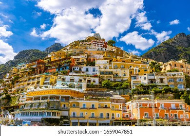POSITANO, CAMPANIA. ITALY - SEPTEMBER 4, 2019: Positano is a village located on the Amalfi Coast. In this photo a glimpse of this amazing place.