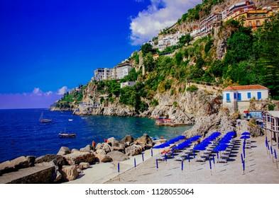 Positano Coast. Beautiful morning scenery in Positano. Summer vacation in Italy. Beautiful Campania.A sunny day in Positano. The best beaches of Italy. Le migliori spiagge d'Italia.