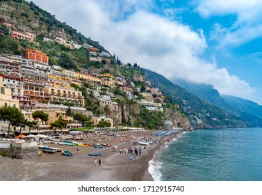 POSITANO ITALY - APRIL 22, 2018 : The Mediterranean sea  beach and colorful buildings  of Positano town at Amalfi coast, Italy.