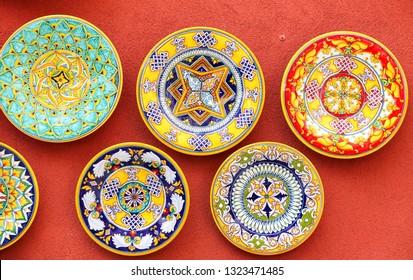 POSITANO, ITALY - AUGUST 23, 2018: Positano style traditional colorful ceramics