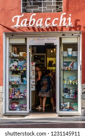 Positano, Italy - June 11, 2018: The tobacco  shop (Tabaccheria) across from the Piazza dei Mulini in Positano is the best place to buy tickets for the local SITA bus.