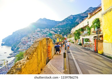 Positano, Italy - September 16, 2016 : View from the street on the hill along Amalfi Coast in Positano in summer on September 16, 2016.