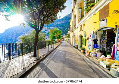 Positano, Italy - September 16, 2016 : View of the main street on a sunny day along Amalfi Coast in Positano, Italy on September 16, 2016.