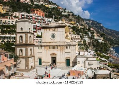 POSITANO, ITALY - SEPTEMBER 9, 2018: View of Santa Maria Assunta Cathedral in Positano, Amalfi Coast, Italy