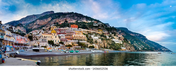 POSITANO, ITLY - APRIL 24, 2018 : Sunset view of the town of Positano at  Amalfi Coast, Italy.