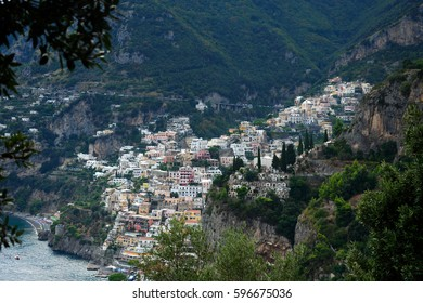 Positano from the steps up to Nocelle on a late afternoon, Italy