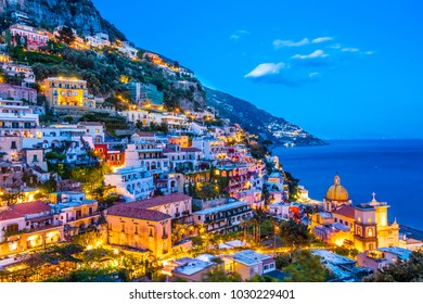 Positano sunset view.  Amalfi Coast, Italy.